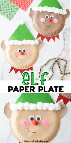 Paper Plate Elf Craft - such a cute Christmas craft for kids! Make this easy paper plate elf with free printable template included! A fun kindergartend or preschool Christmas craft. Christmas Handprint Crafts, Christmas Crafts For Kids, Christmas Activities, Homemade Christmas, Kids Christmas, Activities For Kids, Christmas Ornaments, Easy Crafts For Kids, Toddler Crafts