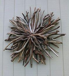 Driftwood Wall Art natural driftwood wall hanging round sunburst sculpture coastal