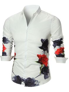 Button Up Flower Printed Shirt - WHITE L