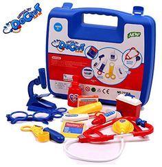a356fbd12 Amazon.com: Kids Simulation Doctor Pretend Play Set Toy Medicine Box Chest  Kit Instruments Nurse Children Baby Playsets,1set=13*tools+1*case Blue Set:  Toys ...