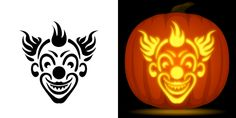Evil Clown pumpkin carving stencil. Free PDF pattern to download and print at http://pumpkinstencils.org/download/evil-clown-pumpkin-stencil/
