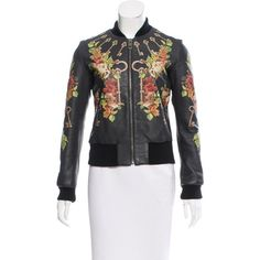 Pre-owned Dolce & Gabbana Printed Leather Bomber Jacket ($1,145) ❤ liked on Polyvore featuring outerwear, jackets, black, floral-print bomber jackets, flight jacket, colorful leather jacket, floral jacket and multi-color leather jackets