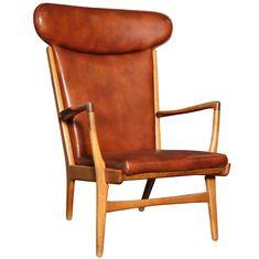 cognac armchair | Oak AP-15 Highback Armchair by Hans Wegner