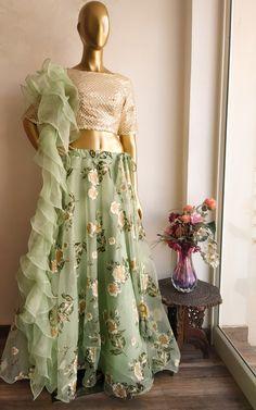 Green Organza Lehenga with Ruffle Dupatta Stylish Dresses, Elegant Dresses, Fashion Dresses, Indian Wedding Outfits, Indian Outfits, Wedding Dress, Indian Designer Outfits, Designer Dresses, Long Gown Dress