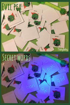 Secret words with Evil Pea. Using a uv pen and torch. Eyfs Classroom, Superhero Classroom, Classroom Displays, Superhero Writing, School Displays, Phonics Games, Phonics Reading, Phonics Activities, Reading Activities