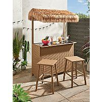 Garden Tiki Bar 3 Piece Set | Outdoor & Garden | George at ASDA Storage Shelves, Shelving, Outdoor Cover, Tiki Bars, Asda, Steel Frame, Rattan, 3 Piece, Pergola