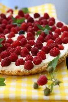 Przepisy Thermomix. Tarta malinowa. Polish Recipes, Waffles, Cheesecake, Food And Drink, Sweets, Cooking, Breakfast, Cakes, Mascarpone