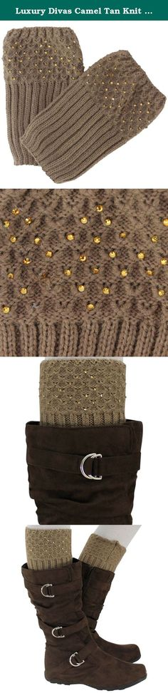 Luxury Divas Camel Tan Knit Crystal Rhinestone Boot Cuff Topper Leg Warmer. Absolutely stunning boot cuff leg warmers keep off the chill while radiating a glamorous fashion look. Delicate rhinestones enhance the upper cuff making these suitable for wear with formal heels as well as boots. Layer over leggings, pants or nylons. Fashionable & Warm Boot Cuff Leg Warmers Exquisitely Sophisticated Rhinestone Cuff Trim One Size Fits Most, Plenty Of Stretch Product Code: APL00070 SKU: L02524 Leg...