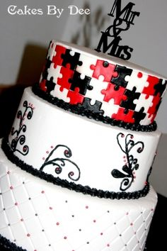 Puzzle Piece Wedding Cake By Dayyi on CakeCentral.com