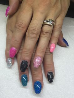Gel nails with hand drawn designs by Melissa Fox
