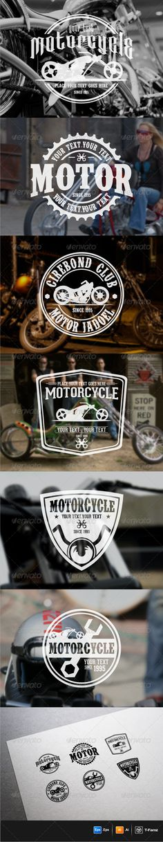 Motorcycle Badges #vector #eps #service #workshop • Available here → https://graphicriver.net/item/motorcycle-badges-/5979425?ref=pxcr