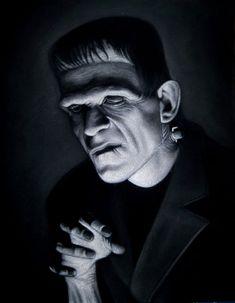 acrylic on black velvet painting x SOLD at Mondo gallery Horror Show, Horror Films, Boris Karloff Frankenstein, Velvet Painting, Slasher Movies, Horror Artwork, Frankenstein's Monster, Famous Monsters, Halloween Horror