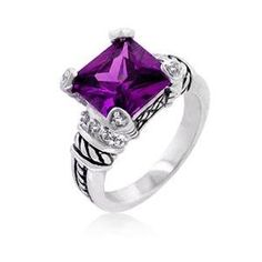 J Goodin R08033R-C20-10 White Gold Rhodium Cable Style Ring featuring Princess Cut Amethyst CZ with Inlaid CZ Prongs in