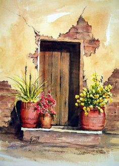 making a start in watercolor painting Watercolor Landscape, Watercolour Painting, Watercolor Flowers, Painting & Drawing, Landscape Paintings, Watercolors, Watercolor Architecture, Mexican Art, Pictures To Paint