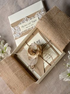 Lace and Buralp  Wedding Invitation (20) , Vintage Wedding Invitations , Rustic Box Wedding invitations