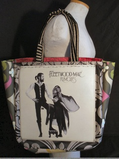 "Amazing Fleetwood Mac ""Rumours"" original LP album cover reDesigned into a reTroToTe!  99% reCycled-reUsed-rePurposed... 100% reDesigned & reTro!  All hand designed and hand sewn.  $50.00 each."