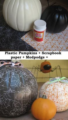 Paper Pumpkins.  There's nothing a little Modpodge and cute paper can't do.