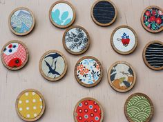 These timber & fabric brooches by Madeleine Beatty (Madz has Runaway)