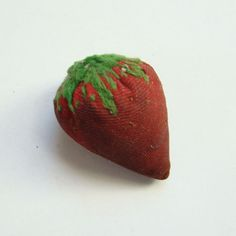 Sewing Strawberry Emery Needle Pin Cushion Embroidered Seeds Leaves Old Vintage by thenewenglandhuswife on Etsy