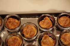 cobbler baked in jars  She adds cornnmeal to the bisquit mix and states it is fabulous!  GREAT BAKE SALE ITEM!!!!