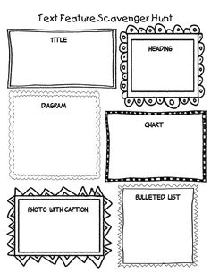 This is a fill in the blank assessment on text features