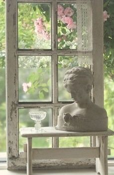 French Shabby and Beautiful! Old Shabby Window Gives Life and Beauty! See more at thefrenchinspiredroom.com