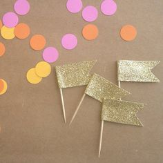 Glitter Flag Party Decorations- also great for a scavenger hunt Pink Gold Party, Glitter Party, Gold Glitter, Bubble Party, Disco Party, Cupcake Flags, Cupcake Toppers, Race Party, Party Party