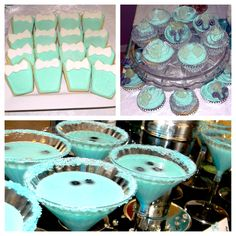 Breakfast at Tiffanys bridal shower drinks cookies and cupcakes