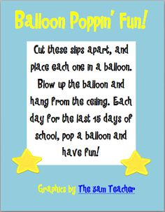 Teachery Tidbits: Balloon Poppin' Fun {freebie}