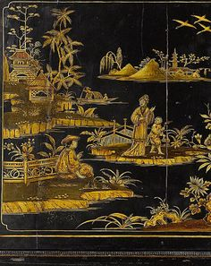 An Italian century black and gilt Japanned and painted cabinet on stand, Venice or Rome, re-using an earlier cabinet - Eloge de l'Art par Alain Truong Chinoiserie Wallpaper, Chinoiserie Chic, Art Chinois, Chinese Patterns, Painted Chest, Oriental Furniture, Art Japonais, Ribbon Art, Bird Drawings