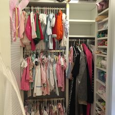 This view shows one of two additional shelving units and the peg board installed in this closet per client request. Hang wings, hats and bows! Supply Room, Organizing, Organization, Shelving Units, Mudroom, Closets, Storage Spaces, Design Projects, Wings