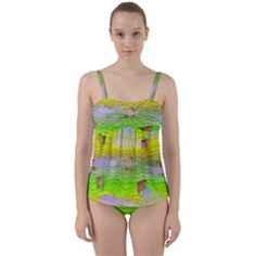 Cows And Clouds In The Green Fields Twist Front Tankini Set by CosmicEsoteric