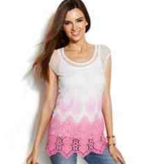 HP 6/10 NWT INC Pink to White Ombré Blouse This gorgeous INC blouse is NWT and never worn! It features a feminine white mesh overlay with white to pink ombré crochet. The crochet is perfectly accented with beautiful rhinestones throughout. White under tank is attached to create the look for any occasion. Size Medium INC International Concepts Tops Blouses