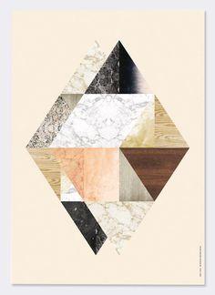 Ferm Living Paneel met illustratie Harlequin Twin berken multiplex wit/multicolor 29,7x42 cm