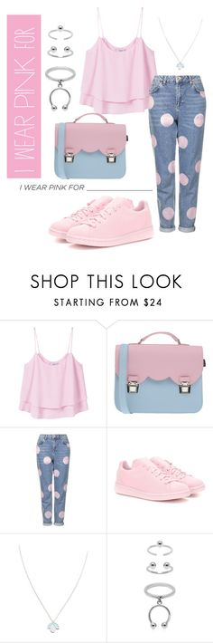 """#we_wear_pink"" by azizaajdad ❤ liked on Polyvore featuring MANGO, La Cartella, Topshop, adidas Originals, Wolf & Moon, Maria Francesca Pepe and IWearPinkFor"