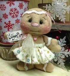 Primitive Raggedy Christmas  Gingerbread Snowman Doll Winter Snow Shelf Sitter