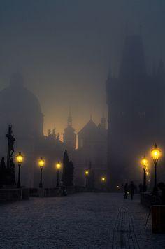 Foggy. Charles Bridge, Prague, Czech Republic.