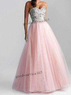Stock Long Prom Party Dress Ball Gown Wedding Bridesmaid Evening Dress Size 6-16