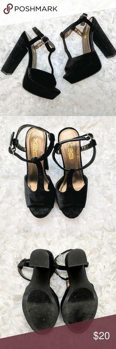X2B Velvet T-Strap Platforms Black velvet platform heels. T-strap ankles. Great used condition. Shows signs of light wear on soles. Size 5 1/2. X2B Shoes Heels