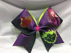 "3 inch width ribbon ""TEXAS/CHEER"" size Glitter MAL Descendants sublimation/vinyl bow Comes on a hair pony Descendants Characters, Disney Descendants 3, Halloween Outfits, Halloween Costumes, Disney Theory, Decendants, Cheer Bows, Birthdays, Montserrat"
