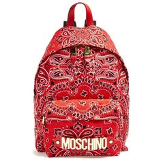 Moschino Women's Moschino Bandana Print Canvas Backpack (1 185 AUD) ❤ liked on Polyvore featuring bags, backpacks, accessories, moschino, american bag, vintage rucksack, backpacks bags, canvas knapsack and red backpack