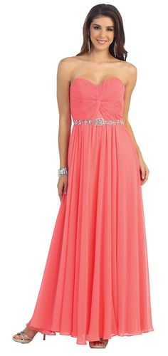 A gorgeous strapless sweetheart neckline with a ruched bust and a elegant rhinestone foe belt. This floor length dress is perfect for any occasion. Fabric : Chiffon Zipper Back Matching complimentary