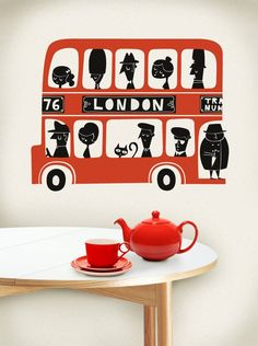 London Red Teapot, cup and saucer... we <3 London