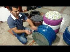 Como fazer um puff de pneu com rodinhas - YouTube