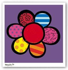 FLORAL ART PRINT Flower Power III Romero Britto #PopArt