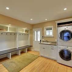 Sports team room style, make sure the dryer is on top of the washing machine, not the other way around. #laundry #washingmachines #laundry rooms