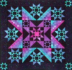 Jeweled Stars Wall Hanging by Diane McGregor at Castilleja Cotton.  Luminosity created by gradations.