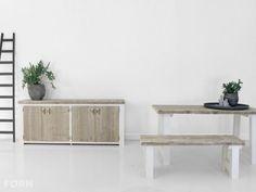 Verkrijgbaar als set: Dressoirkast en tafel Anna. Uiteraard is een bijpassend bankje ook mogelijk!