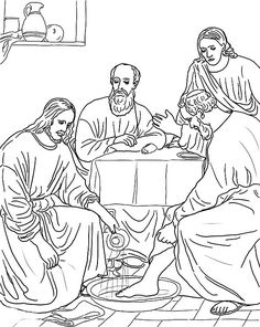 jesus washing feet coloring page - foot washing artwork by fr bob gilroy sj jesus