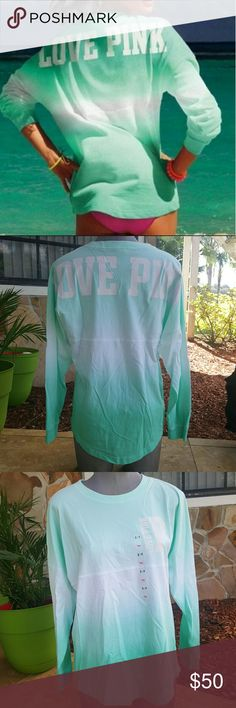 Ombre varsity crew Seafoam green and white  New with tags  Victoria's secret pink long sleeve shirt  No longer available in stores Victoria's Secret Tops Tees - Long Sleeve